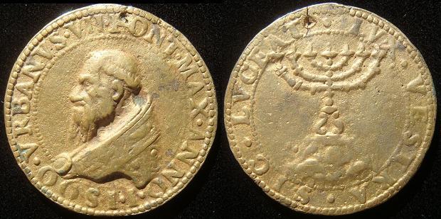 Urban VII (1590) Menorah Gilt Bronze Photo