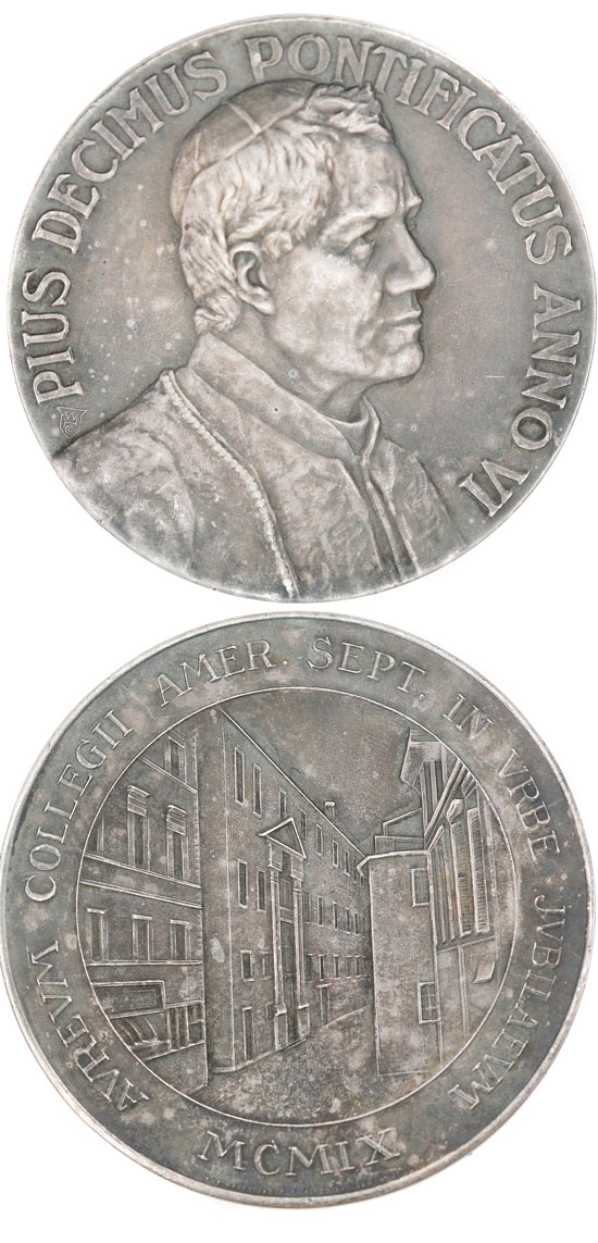 Pius X 1909 North American College Medal Photo
