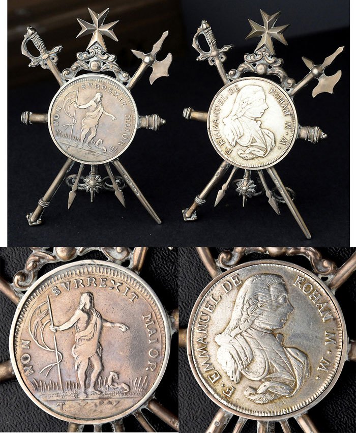 Pair of Knights of Malta Coins in Military Stands Photo