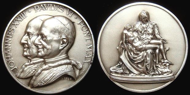 John XXIII, Paul VI LA PIETA Medal 50mm Photo
