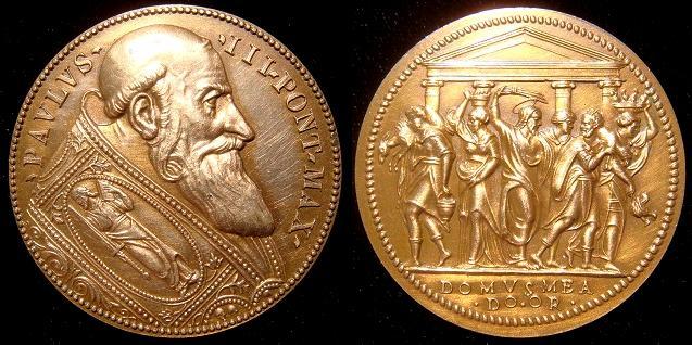 Paul III (1534-49) Jesus Cleansing Temple Medal Photo