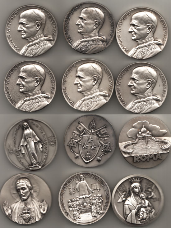 Lot of 6 Paul VI Medals 50mm Photo