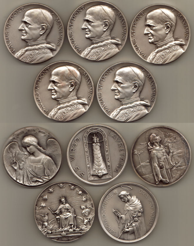 Lot of 5 Paul VI Medals 50mm Photo