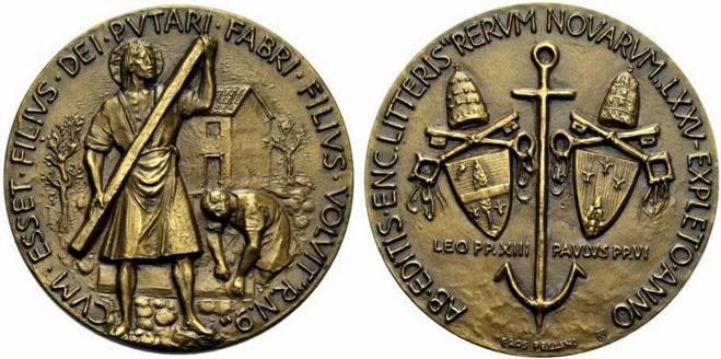 Paul VI 1966 Rerum Novarum Bronze Medal Photo