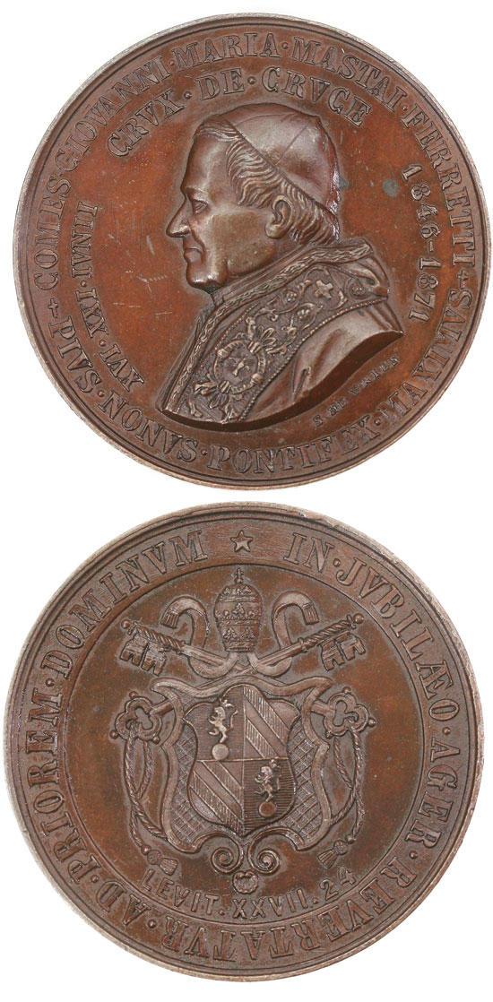 Pius IX 1871 Pontifical Jubilee Medal Photo