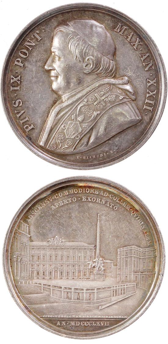 Pius IX (1846-78) A.XXII Ag Medal Piazza Quirinale Photo