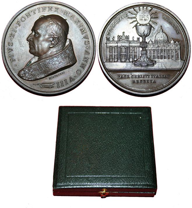 Pius XI 1929 Bronze Medal Lateran Agreements Photo