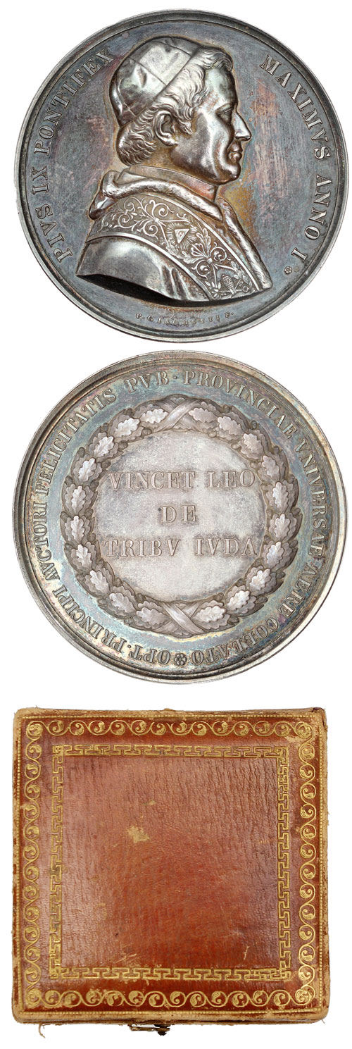 Pius IX 1846 Silver Medal Election 57mm w/Case Photo