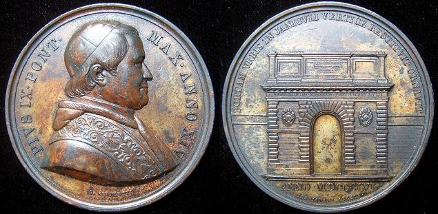 Pius IX (1846-78) A.XIV Medal Porta San Pancrazio Photo