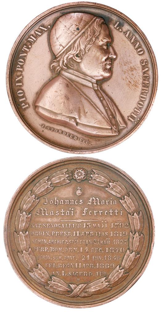 Pius IX 1869 Sacerdotal Medal 61mm Photo