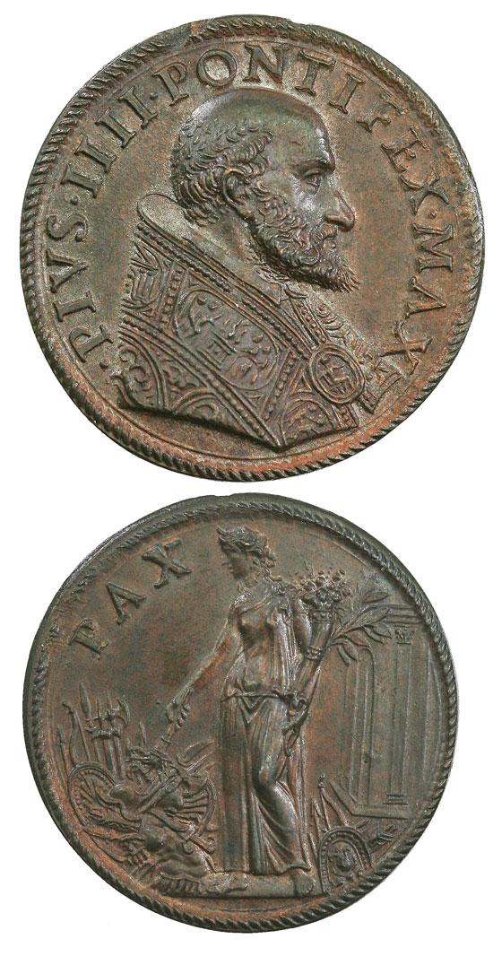 Pius IV (1559-65) Figure of Peace Medal Photo