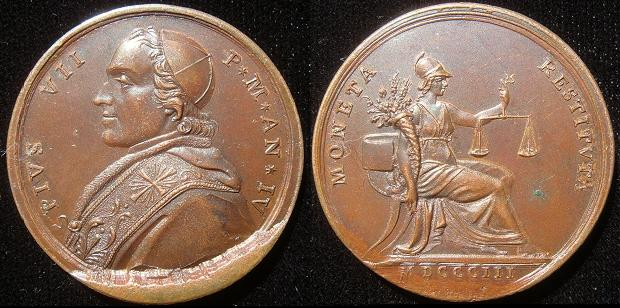 Pius VII (1800-23) Anno IV Bronze Medal Photo