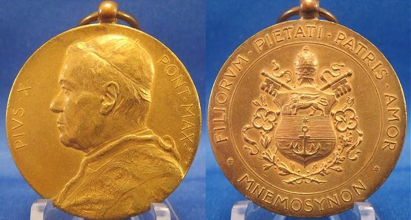 Pius X 1903 Election 32mm Gilt Bronze Photo