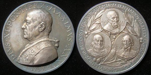 Pius XI 1937 Papal Academy of Science Silver Medal Photo