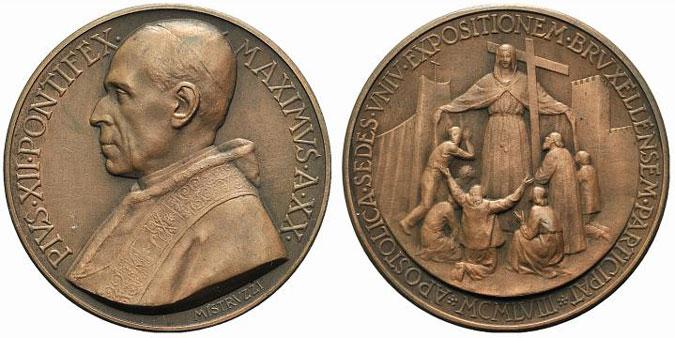 Pius XII (1939-58) Anno XX Bronze Photo