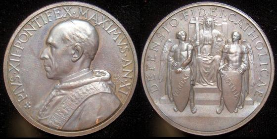 Pius XII (1939-58) Anno XI Bronze Medal Photo