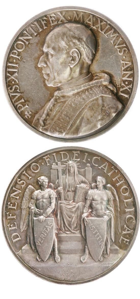 Pius XII (1939-58) Anno XI Silver Medal Photo
