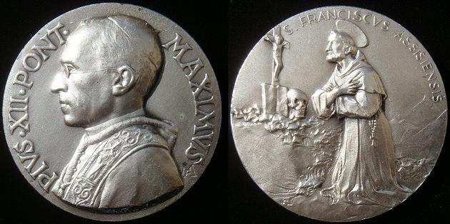 Pius XII, St. Francis of Assisi Medal 50mm Photo