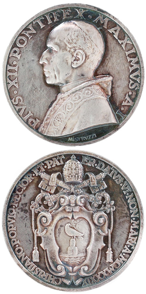 Pius XII (1939-58) Anno I Election Medal Silver Photo