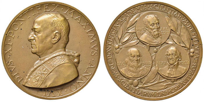 Pius XI 1937 Papal Academy of Science Bronze Medal Photo