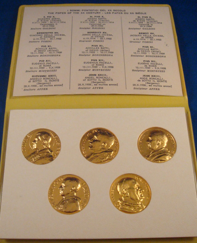 Popes of the 20th Century - 5 Medal Set Photo