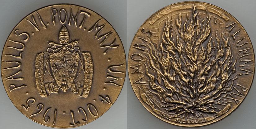 Paul VI 1965 U.N. Visit Official Bronze Medal Photo
