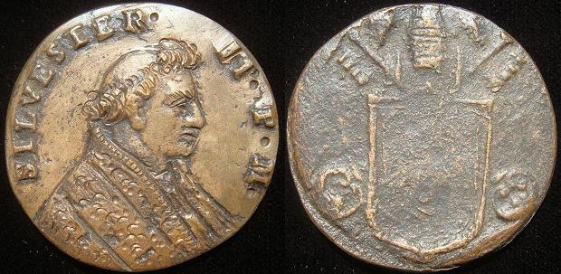 Silvester II (999-1003) Cast Bronze Medal Photo