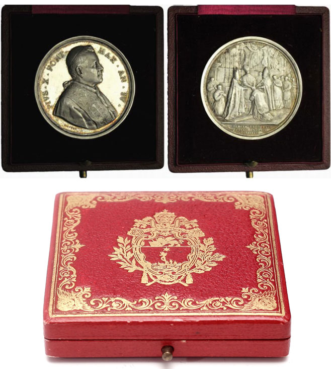 Pius X 1906 Consecration French Bishops Medal Photo