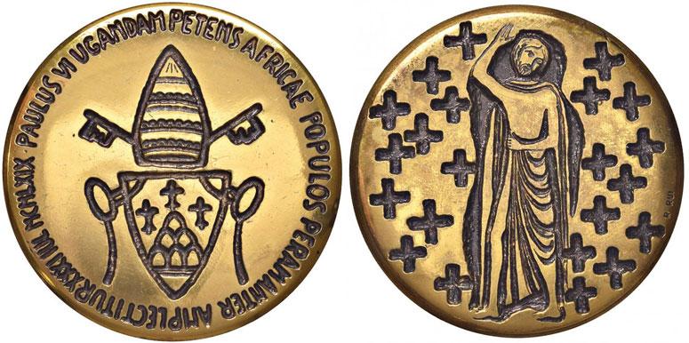 Paul VI 1969 Uganda Martyrs Bronze Medal Photo