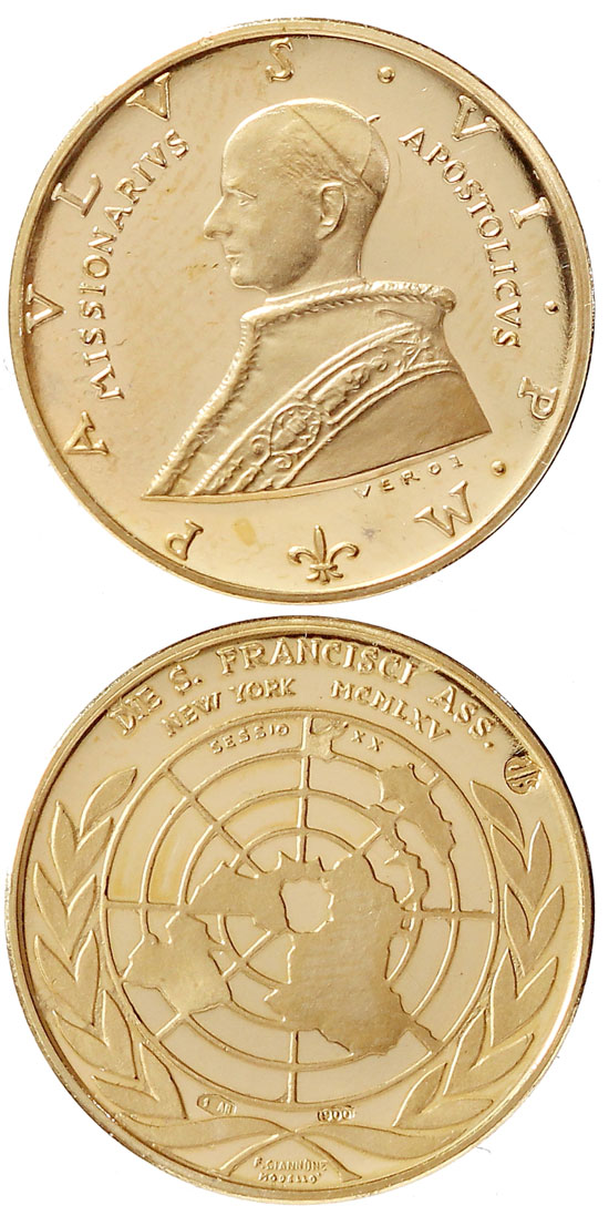 Pope Paul VI 1965 Gold Medal U.N. Visit Photo
