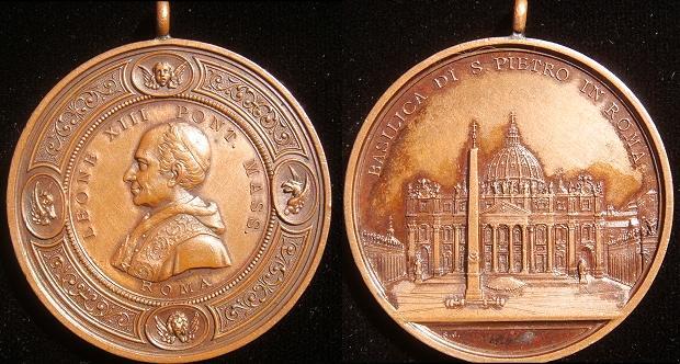 Leo XIII St. Peter's Basilica 47mm Bronze Medal Photo