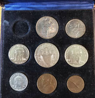 1945 Vatican 8 Coin Set With Case Thumbnail