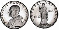 1964 Vatican 10 Lire PRUDENCE Coin Thumbnail