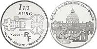 2006 France 1.5 Euro Silver St. Peter's Basilica Thumbnail