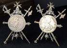 Pair of Knights of Malta Coins in Military Stands Thumbnail